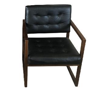 Black Leather & Wood Mid Century Modern Armchairs