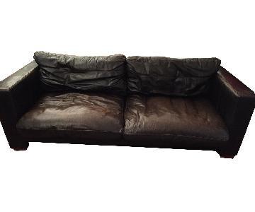 John Lewis Tapas Brown Leather Sofa