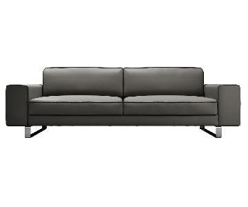 Modloft Waverly Leather Sofa in Warm Gray Leather
