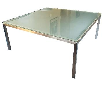 Crate & Barrel Parsons Frosted Glass Top Coffee Table