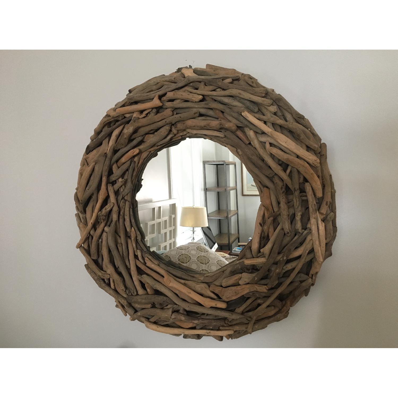 West Elm Round Driftwood Wall Mirror-0
