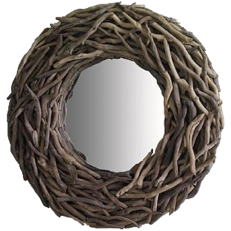 West Elm Round Driftwood Wall Mirror