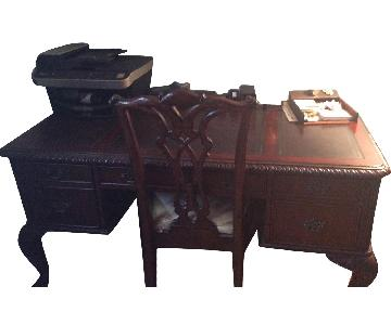 Wood & Leather Office Desk & Chair