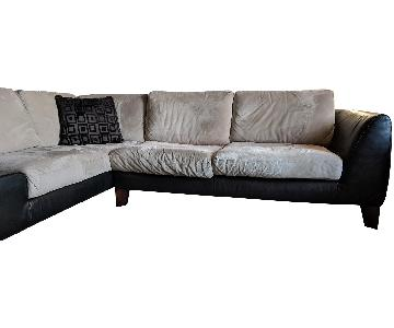 Silver/Black Microsuede/Leather Sectional Sofa