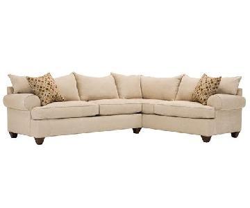 Raymour & Flanigan Tan Microfiber Sectional Sofa