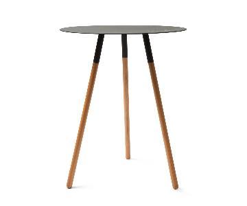 Yamazaki Black Steel & Wood Circular Side Table