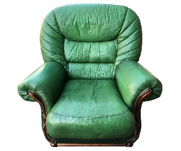 Vintage 1970s Green Leather Armchair