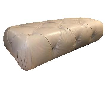 ABC Home Large Tufted Ivory Leather Ottoman