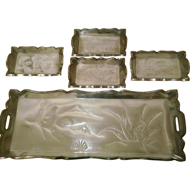 Vintage Mexican Handmade Decorative Trays