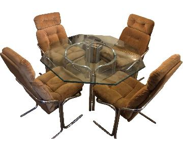 Vintage 1970s Glass & Chrome Octagon Table w/ 4 Chairs