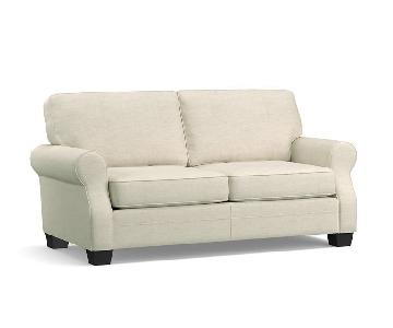 Pottery Barn Ivory Upholstered Two Seater Sofa