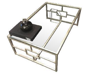 Modern Glass Rectangle Coffee Table w/ Silver Metal Base