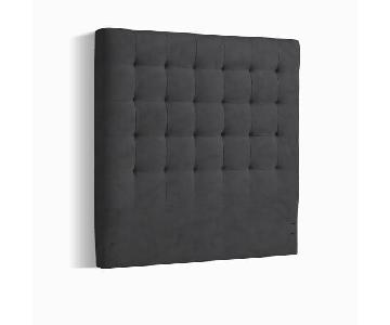 West Elm Tall-Grid Tufted Headboard w/ Metal Bed Frame