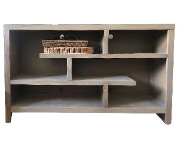 Grey Credenza-Style Cabinet