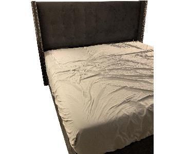 One Kings Lane Velvet King Bed w/ Tufted Studded Headboard