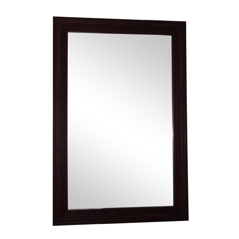Large Solid Wood Framed Beveled Mirror - image-1
