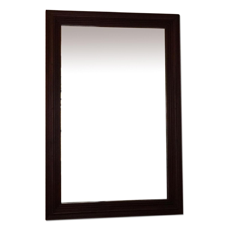 Large Solid Wood Framed Beveled Mirror - image-0