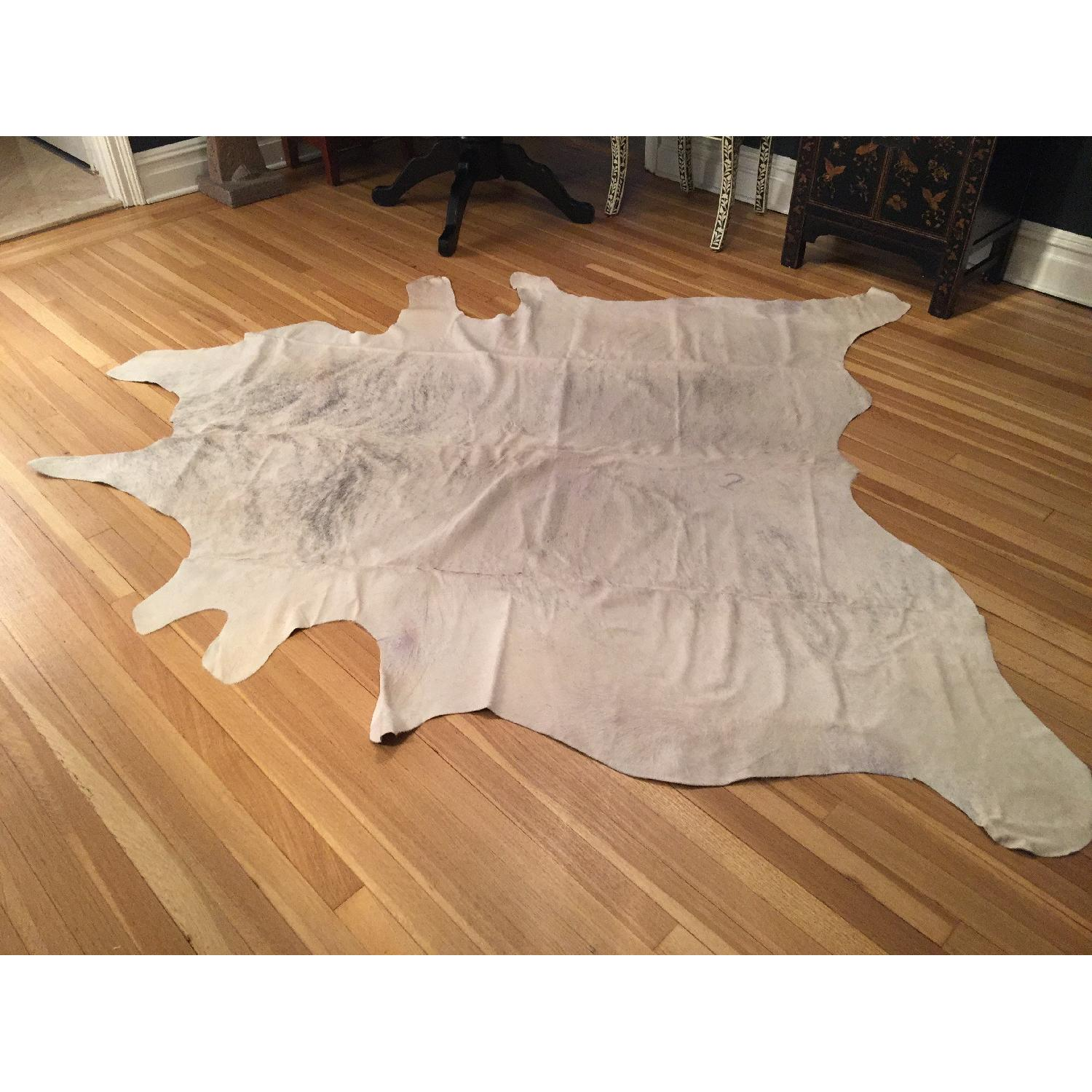 Animal Hide Rug from Argentina in White, Cream & Gray - image-4