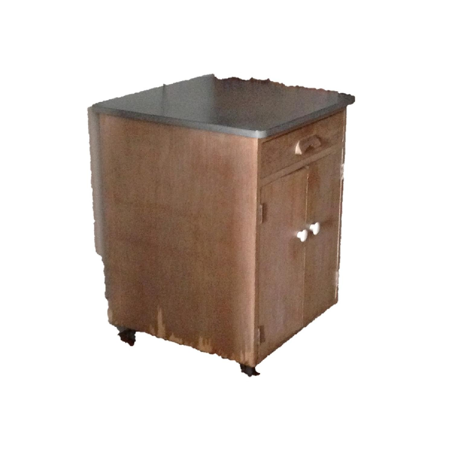 1950's Hand Crafted Bar Cabinet Linen Storage on Wheels - image-1