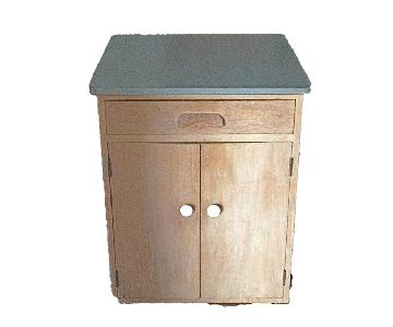 1950's Hand Crafted Bar Cabinet Linen Storage on Wheels