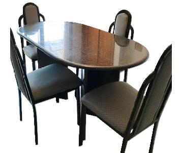Granite Top Dining Table w/ 4 Chairs
