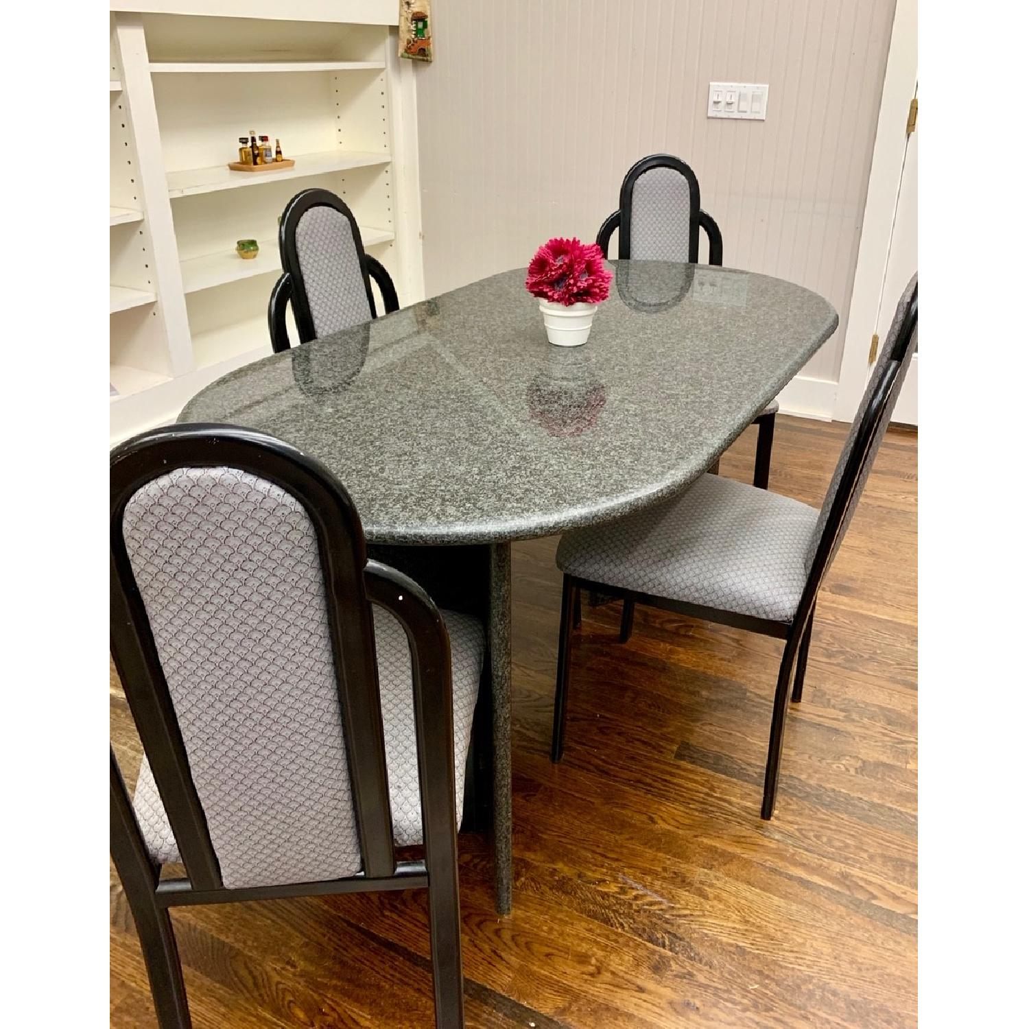 Granite Top Dining Table w/ 4 Chairs - image-1