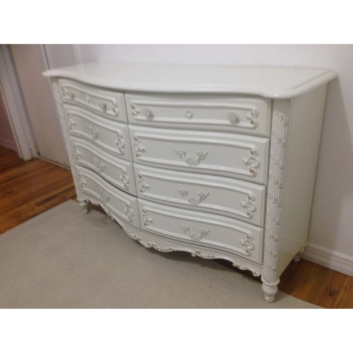 White Double Dresser w/ Decorative Carvings & Gold Color Accents - image-3