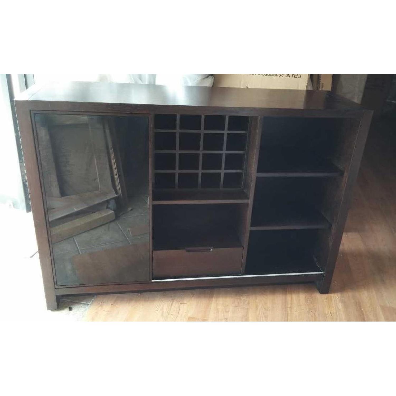 Modern Cabinet w/ Black Glass Sliding Door & Wine Shelves - image-1