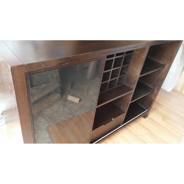 Modern Cabinet w/ Black Glass Sliding Door & Wine Shelves - image-2