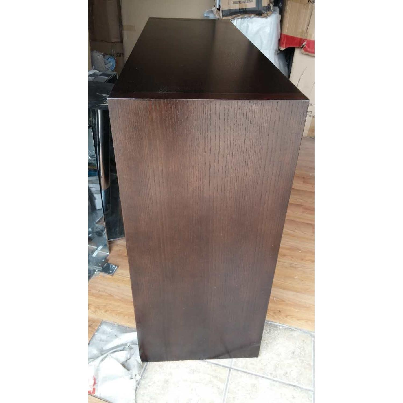 Modern Cabinet w/ Black Glass Sliding Door & Wine Shelves - image-3