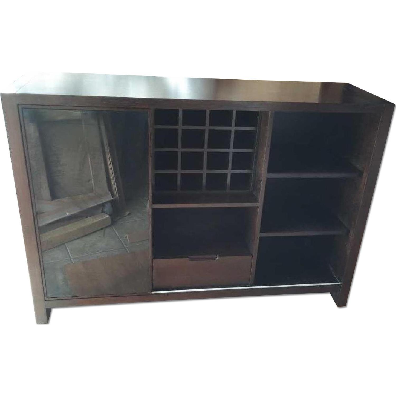 Modern Cabinet w/ Black Glass Sliding Door & Wine Shelves - image-0