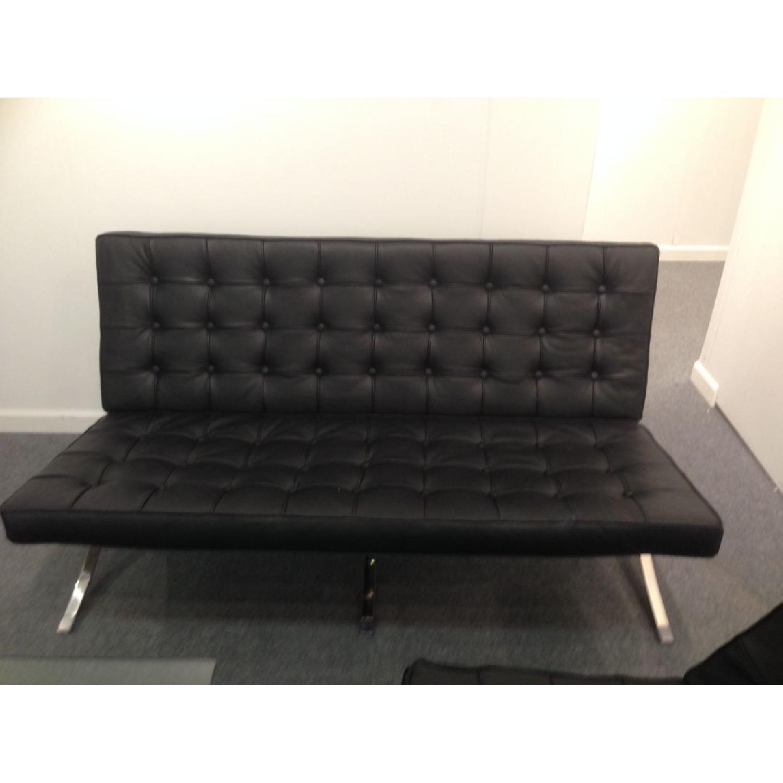 Barcelona Style Premium Leather Black Sofa - image-1