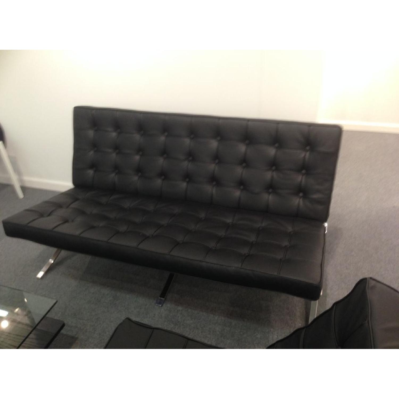Barcelona Style Premium Leather Black Sofa - image-2