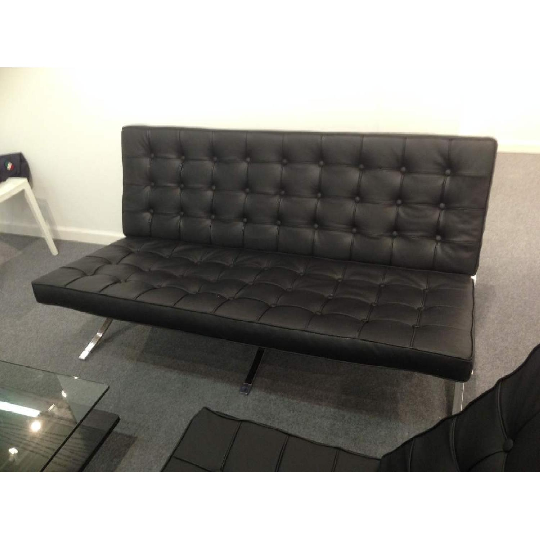 Barcelona Style Premium Leather Black Sofa - image-3
