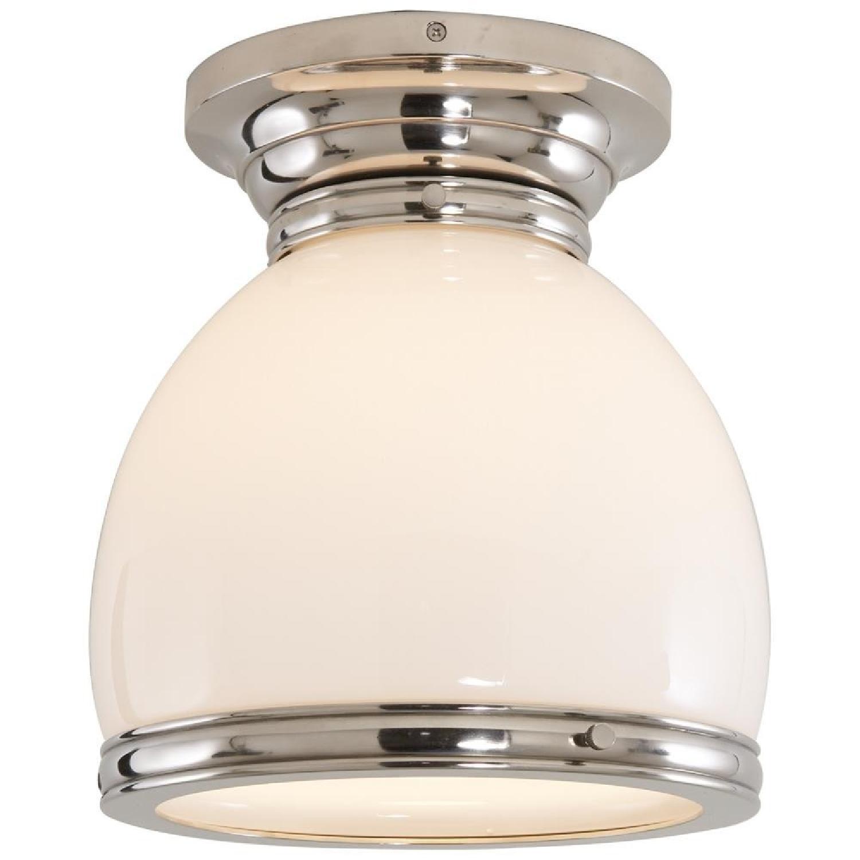 Edwardian Open-Bottom Flush-Mount Light in Polished Nickel - image-0