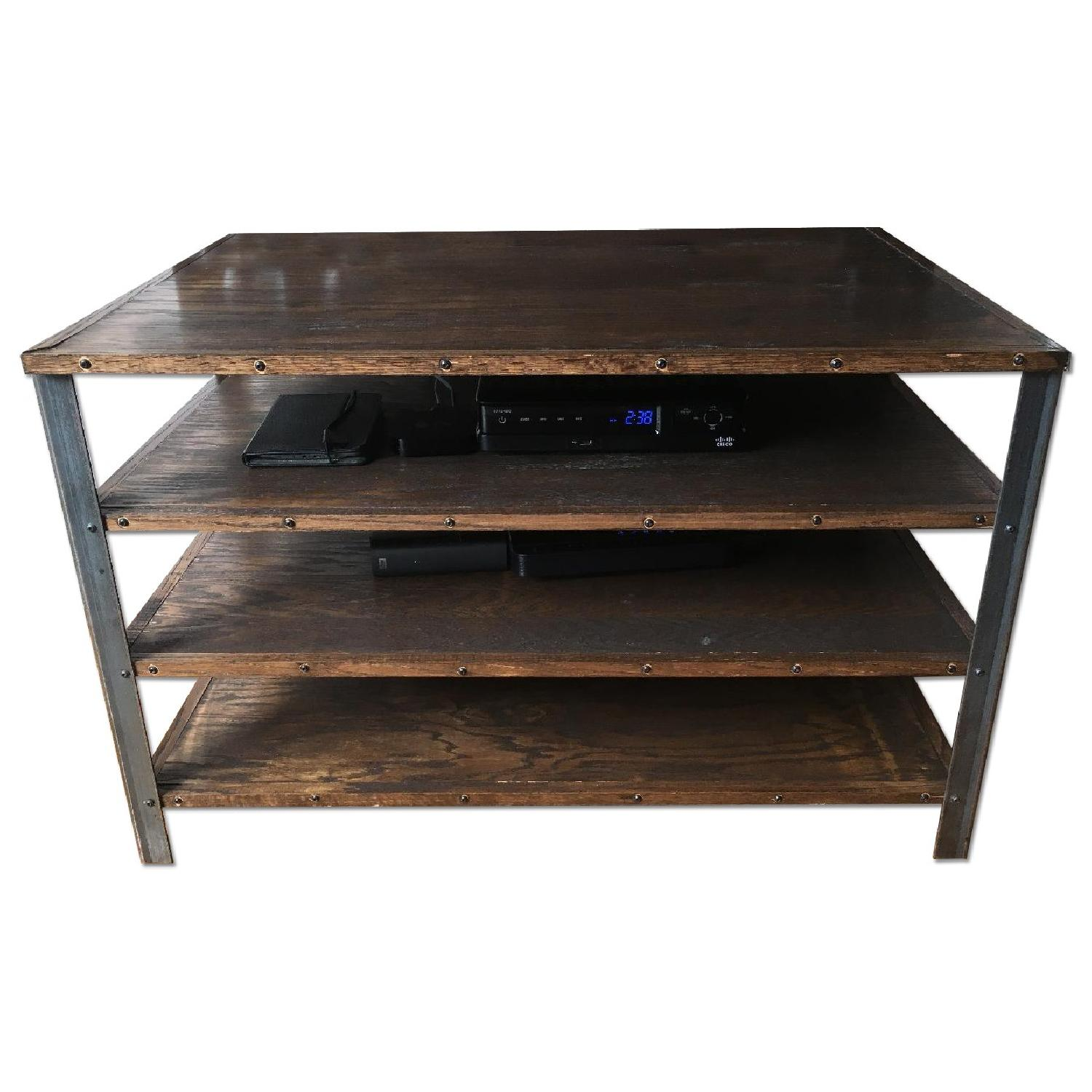 Antique Industrial Style Media Storage Shelves - image-0
