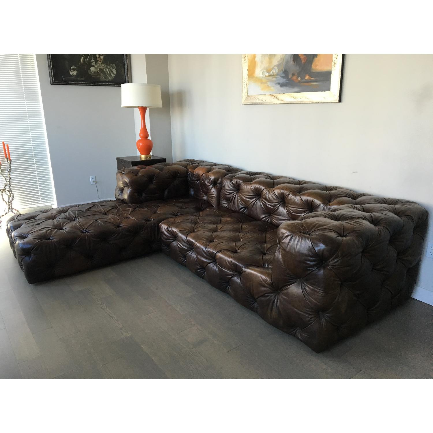 Restoration Hardware Brown Leather Sectional Couch - image-1