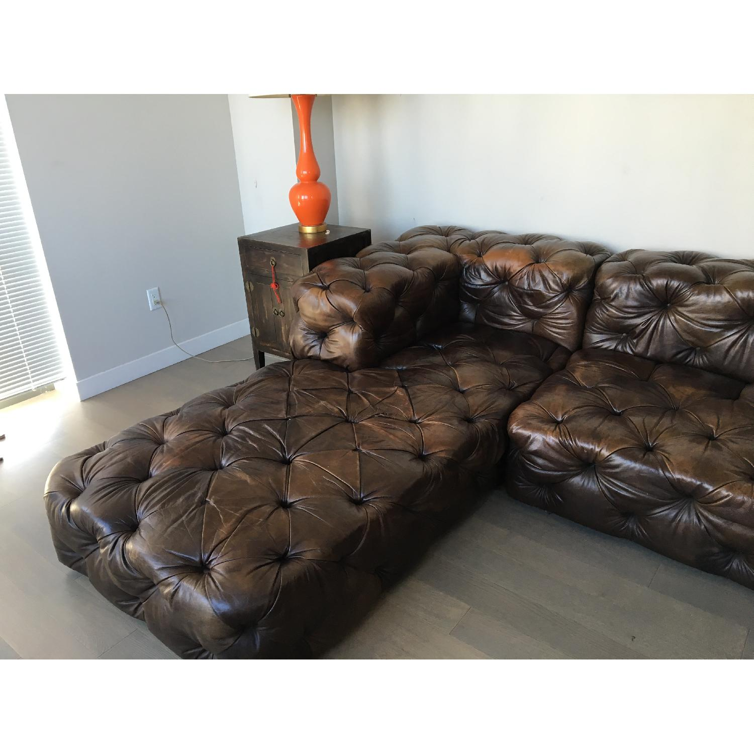 Restoration Hardware Brown Leather Sectional Couch - image-2