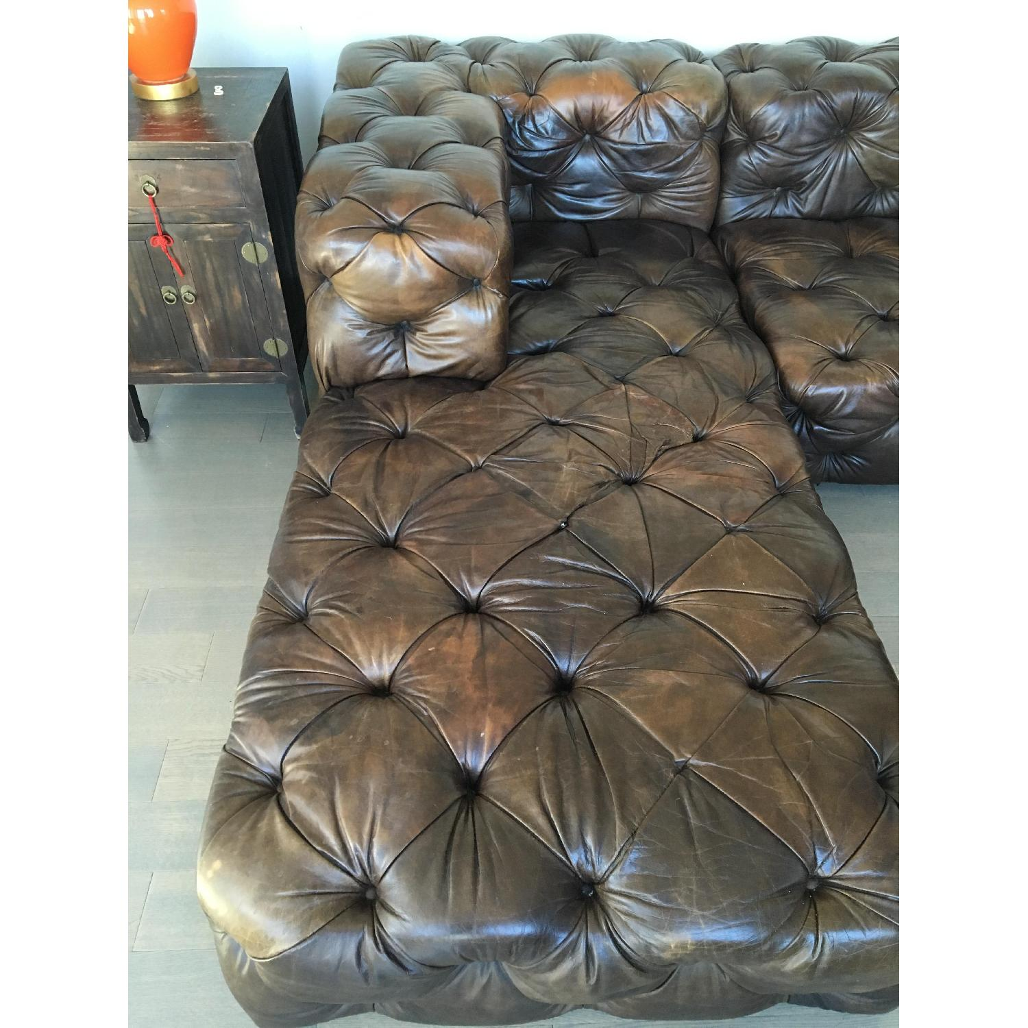 Restoration Hardware Brown Leather Sectional Couch - image-4