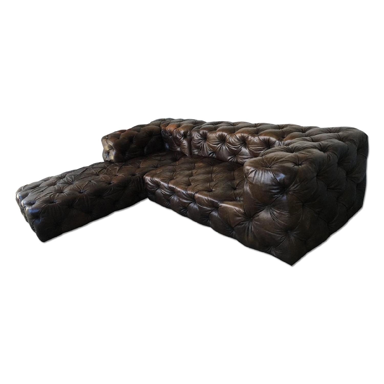 Restoration Hardware Brown Leather Sectional Couch - image-0