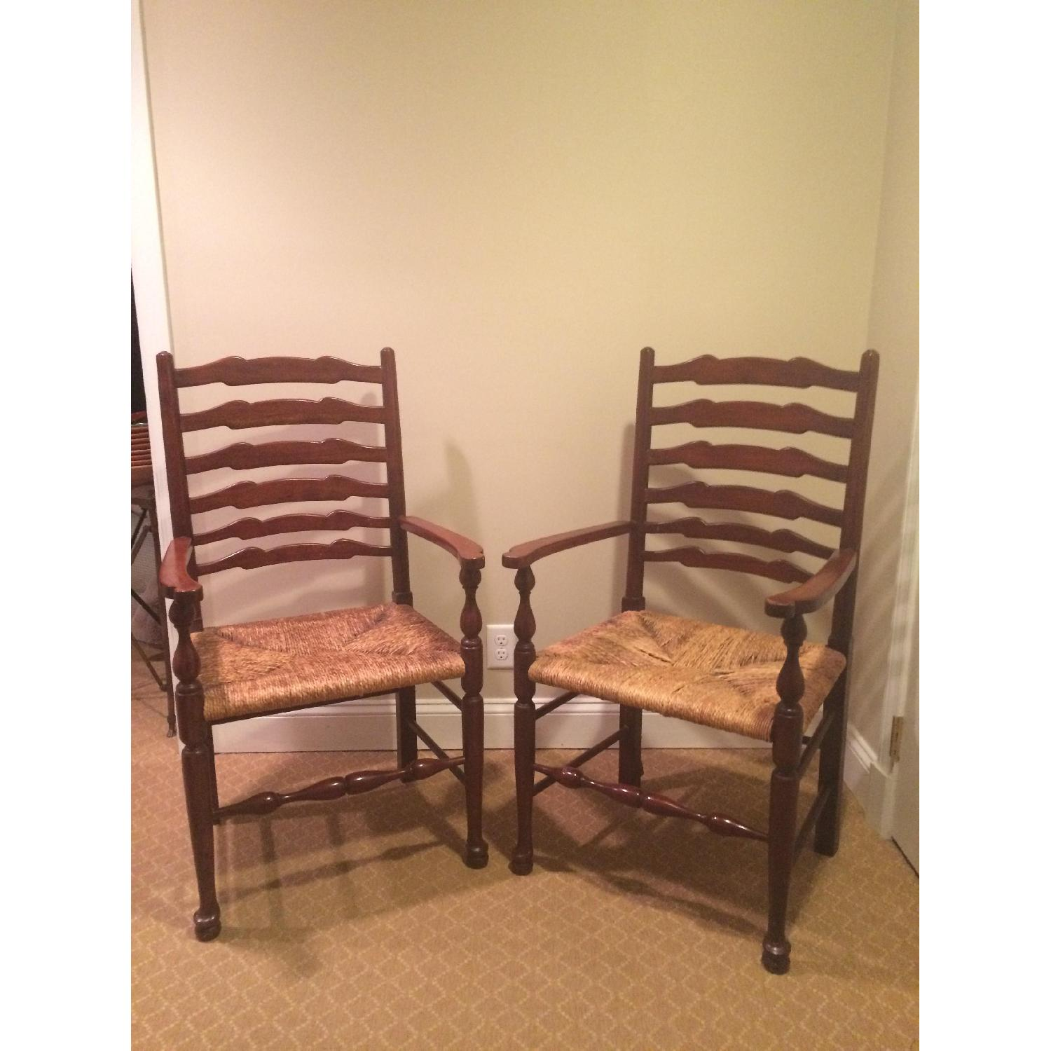 French Country Ladderback Armchairs - image-1