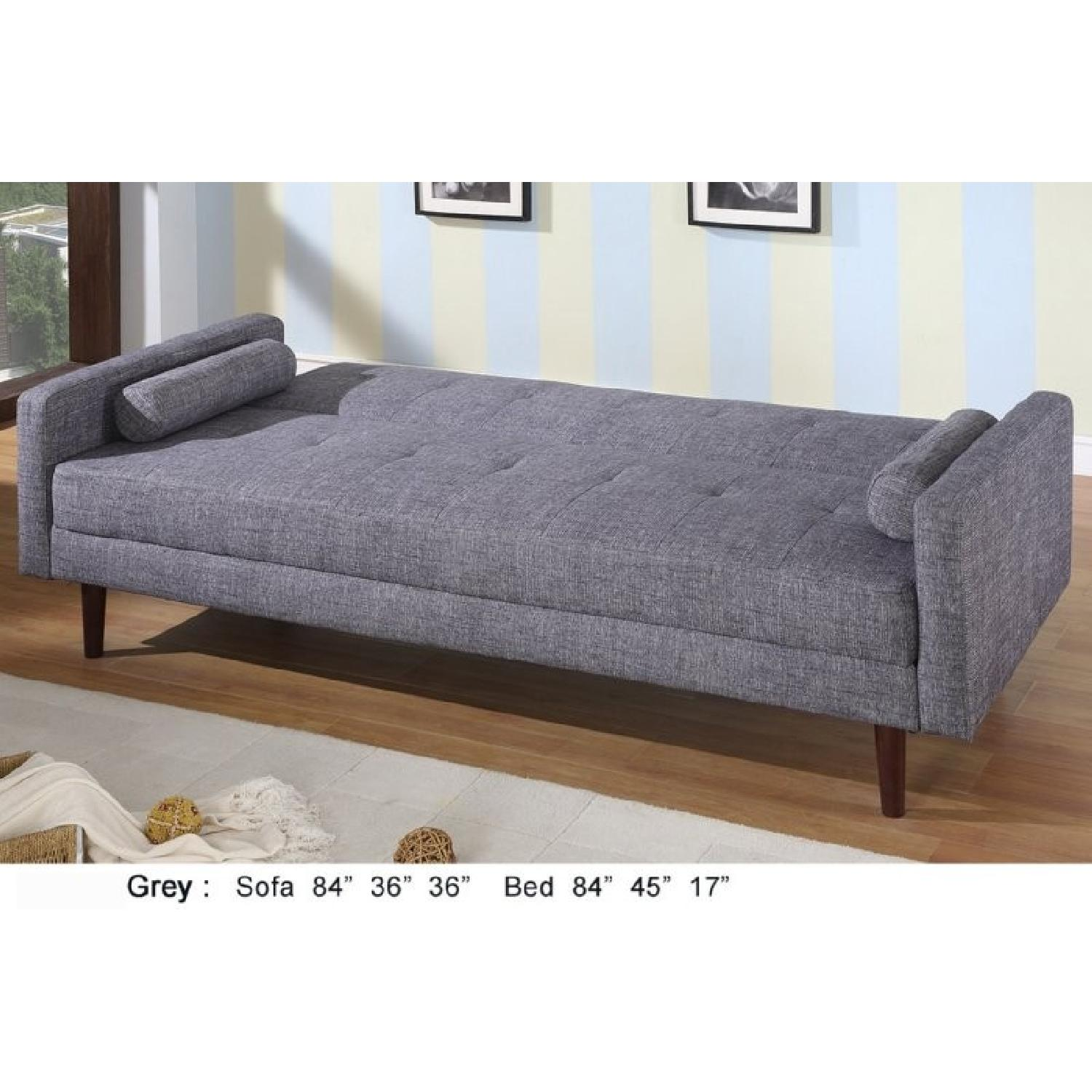 Modern Grey Linen Fabric Sofabed - image-1
