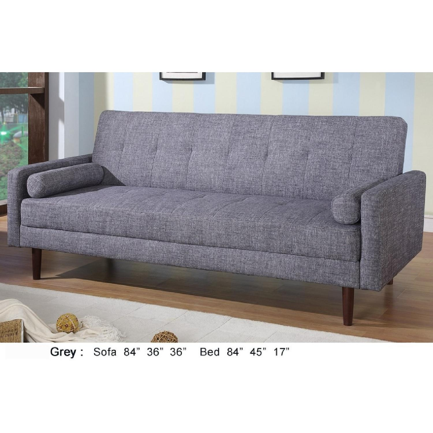 Modern Grey Linen Fabric Sofabed - image-2