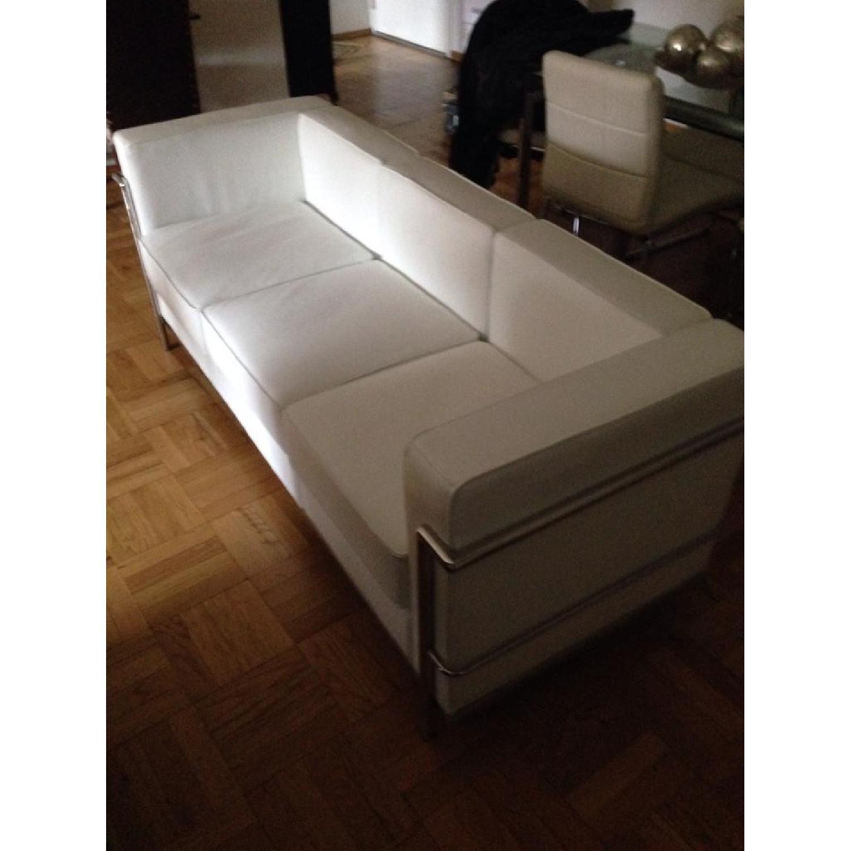 Mid-Century Style White Leather Sofa - image-1