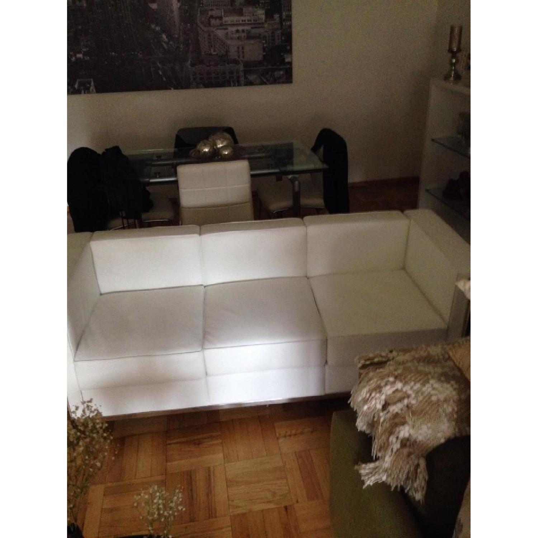 Mid-Century Style White Leather Sofa - image-2