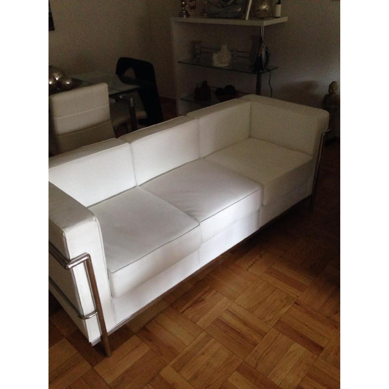 Mid-Century Style White Leather Sofa - image-3