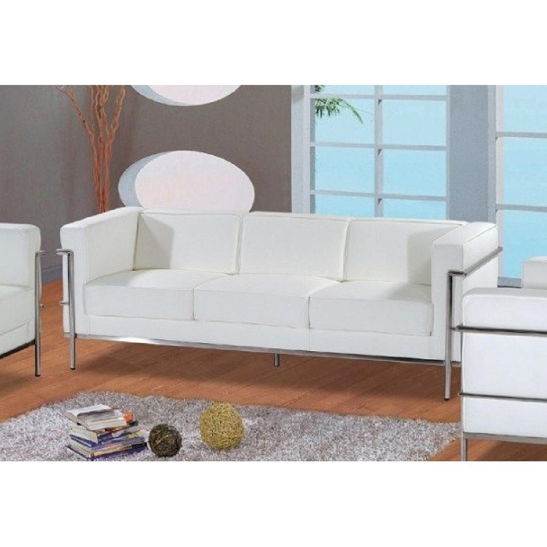 Mid-Century Style White Leather Sofa - image-4