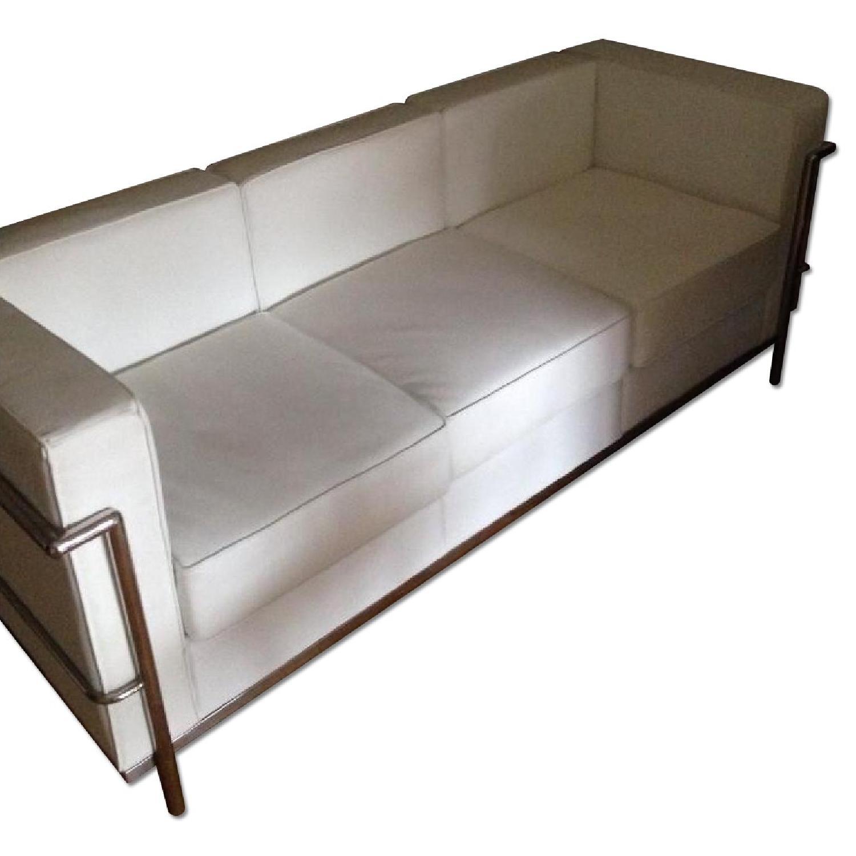 Mid-Century Style White Leather Sofa - image-0