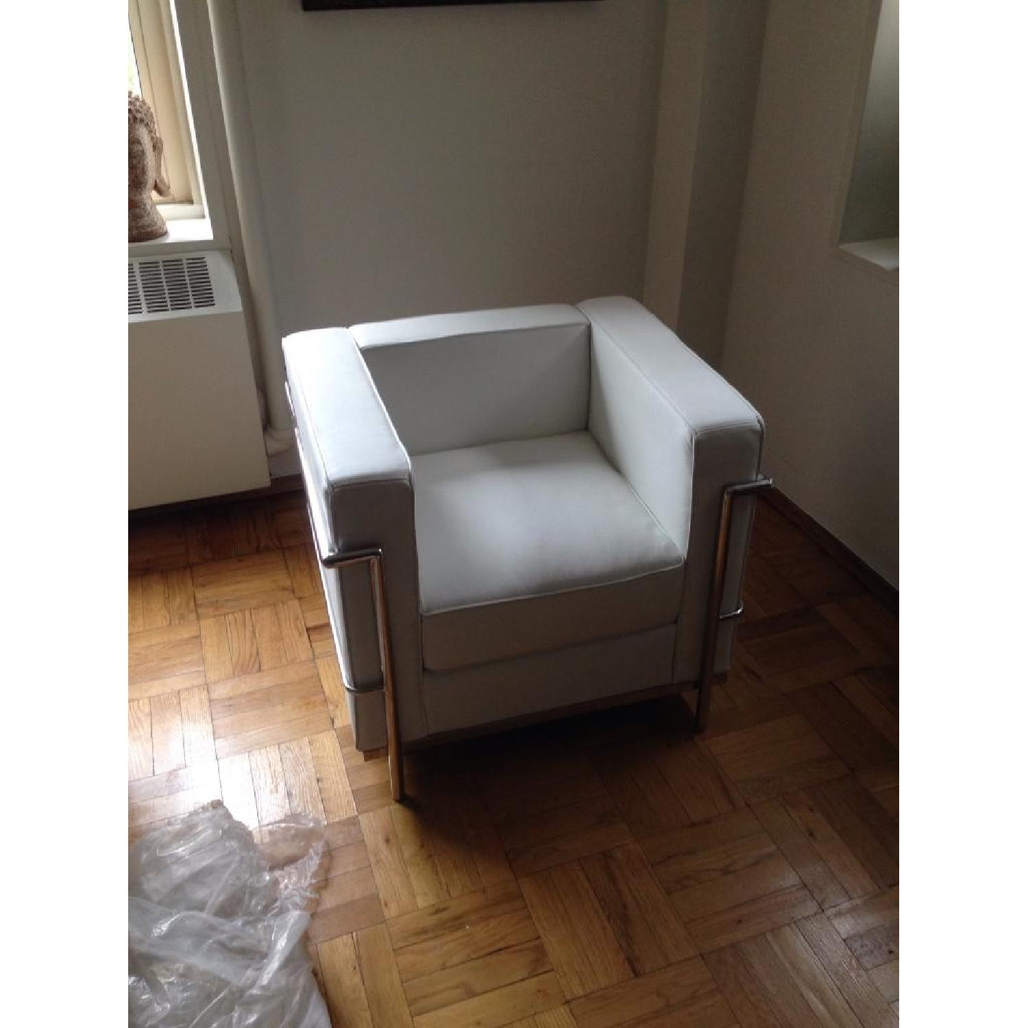 Mid-Century Style Accent Chair in Premium White Leather - image-1