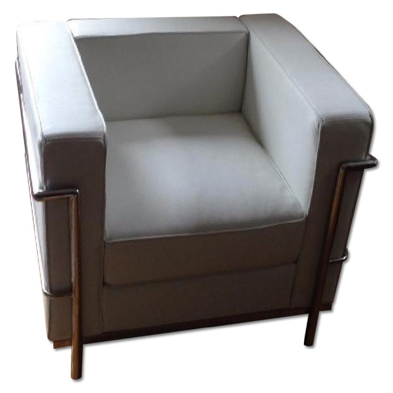 Mid-Century Style Accent Chair in Premium White Leather - image-0